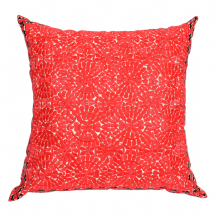 Moroccan Cushion Pillow Silk Square Red Rabat Embroidery 60 x 60 cm 23.6 x 23.6'' CR6
